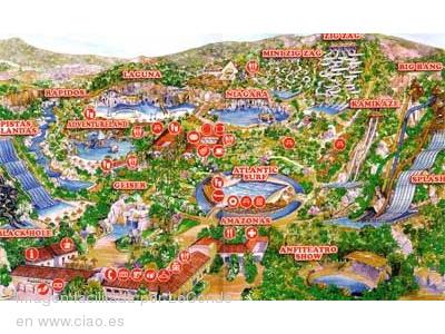 Mapa de las atracciones de Aqualandia